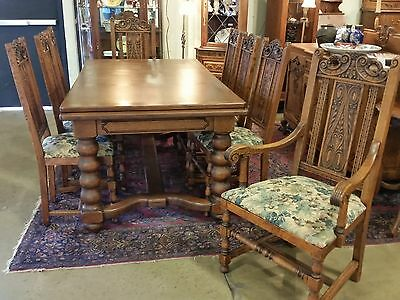 Antique Oak Large Draw Leaf Table & 8 Tall Chairs 1920s 10.5 Ft LONG with Leaves