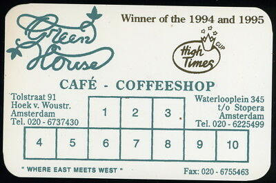 RARE 1996 GREEN HOUSE CAFE COFFEESHOP Amsterdam Buy 10 Grams Get One Free Card