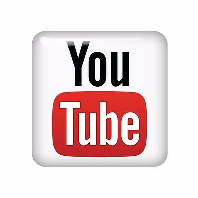 YouTube 25x25mm 3D Domed Sticker / Gel Aufkleber / Badge / Case Logo