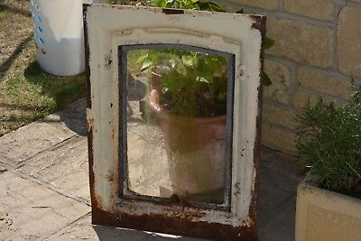 Vintage French Cast Iron original window frame and swing light.