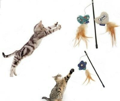 Fabric and Feather Cat Teaser Toy Cat Kitten Tickler Play Tease Toy Tabby Chic