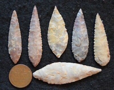 6  nice Sahara Neolithic ovate points/blades, a little color & serrations