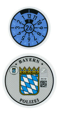 German Police License Plate Registration Seal and Inspection Sticker
