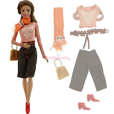 Office Lady Outfit Blouses Checkered Shorts Clothes For Barbie Doll Accessories