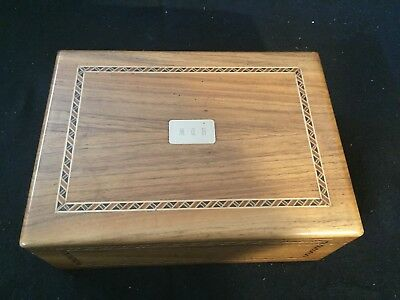 Vintage Mid Century Decatur Industries Inlay Docorated Wooden Cigar Box Humidor