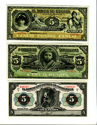 3 Different CU Mexican Revolution Banknotes