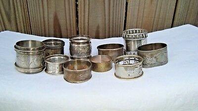(10) ANTIQUE Silverplate NAPKIN RINGS