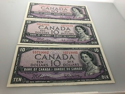 1954 Canadian $10 Bills- Qty 3- 2 w/consecutive #'s CV5719002 & CV5719001
