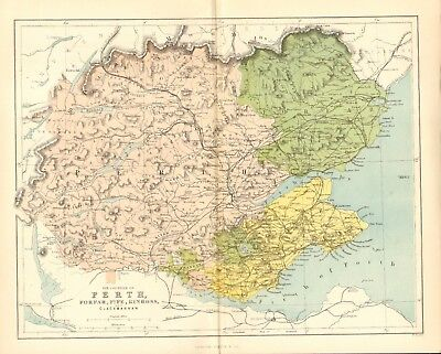original 1868 colour map ! the counties of perth - forfar- fife - & kinross