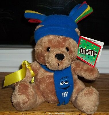 M&M's CANDY NOVELTY Plush Brown Bear Blue Hat & Scarf GALERIE
