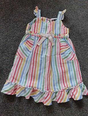 Baby Girls Cotton/linen Candy Striped White/multi Dress Age 18-24 Months Next