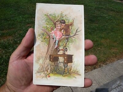 Antique Singer Treadle Sewing Machine Advertising Victorian Trade Card Adam Eve