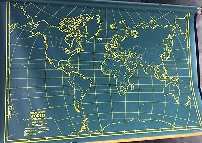 "Rare Vintage School/Military 42"" x 60"" World Pull Down Map by A. J. Nystrom Co"