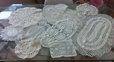 Job Lot Of 10 White Vintage Hand Crocheted Cotton Lace Doilies/table Mats