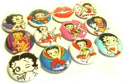 """12 BETTY BOOP - ONE Inch Buttons 1"""" Pinback Pins Badges Bettie Girly Pin Up Kiss"""
