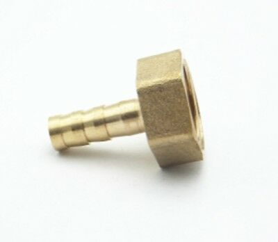 "8mm Hose Barb Tail - 1/2"" BSP Female Thread Straight Brass Connector Fitting"