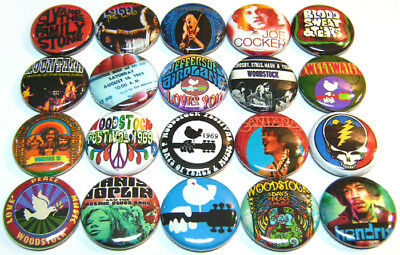 "20 WOODSTOCK Fest - ONE Inch Buttons 1"" Pins Badges 1969 Retro Hippie ROCK Bands"