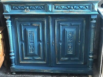 Antique Ornate Carved Distressed Painted Oak French Sideboard Cabinet Cupboard