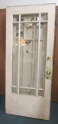Antique Exterior Door W/ Beveled Glass 75 Lbs. Solid Wood Priced To Sell # 56