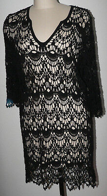 Women's NWT Surf Gypsy Large Black 3/4 Sleeve Open Weave Cotton V-Neck Cover up