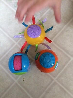Fisher Price Peek A Boo Blocks Roll Arounds Balls lot of 3 sensory toy balls