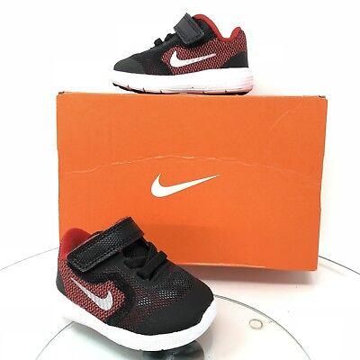 a66555d0f9459e New Nike Baby Infant Revolution 3 Shoes Black   Red Size 2C 819415-600