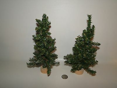"""Lot of 2 -  Christmas Village Trees, Wooden Bases Approx 9"""" Tall"""
