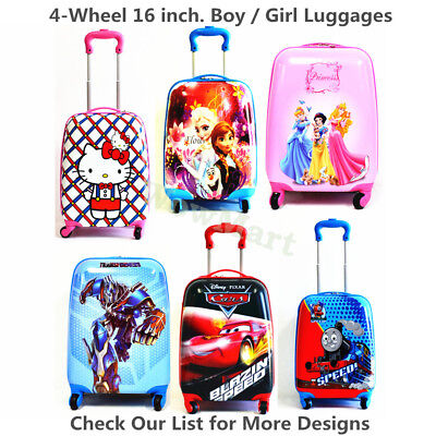 "New Kid Gift 16"" Wheeled Rolling 4-Wheel Suitcase Travel Bag Luggage Trolley"