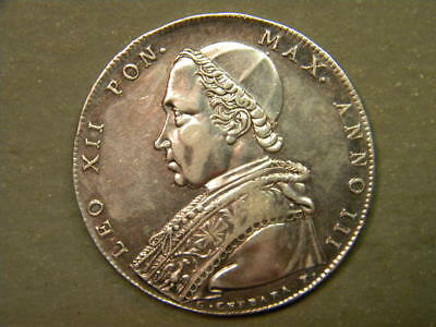 Excellent 1825-B Italy Papal States One Scudo KM-1297.1 High Grade Coin.