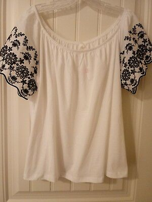 fe2a1f65fb2bdc H M NWT WHITE Peasant Top w Black Embroidery on Sleeves. Size XL ...