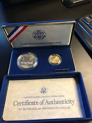 1987 U S Constitution Silver & Gold 2 Coin Proof Set-Free Shipping