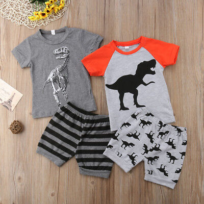 Toddler Kids Baby Boys Dinosaur Stripes Tops T-shirt Short Pants Outfits Clothes
