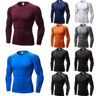Mens Compression T-Shirt Long Sleeve Gym Base Layer Under Top Sports Fitness