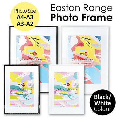 A4-A3 / A3-A2 Photo Frame Matted Picture Poster Certificate Plastic Black White