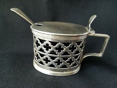 Antique JG&S English Hinged Sterling Silver Mustard Pot w/ Cobalt Liner & Spoon