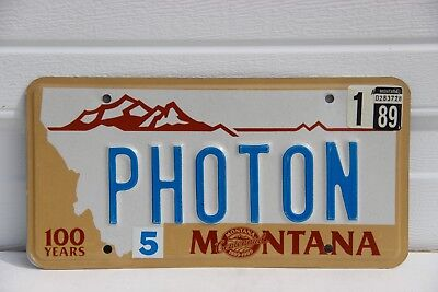 1989 Montana License Plate personalized PHOTON Centennial 100 years  star wars