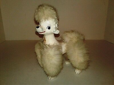 Vintage 1950s Japan Poodle Dog Porcelain Figurine Fur 8""