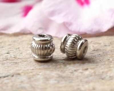 50 Barrel Lantern Metal Alloy Spacer Beads 5mm x 4mm Antique Silver