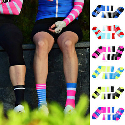 Pro Unisex Cycling Sports Polyester Anti-Sweat Breathable Striped Ankle Socks