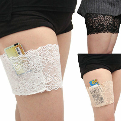 Women Lace Prevent Leg Warmer Elastic Socks phone Holder Anti-Chafing Thigh Band