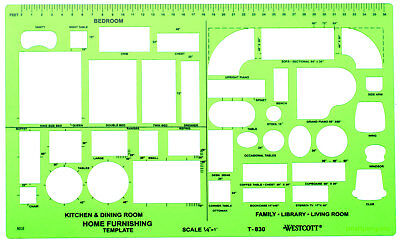 Westcott Home Furnishing Drafting Drawing Template Transparent Plastic