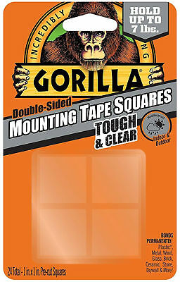 Gorilla Glue Double-Sided Mounting Tape Squares Clear Permanent Weatherproof