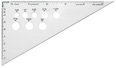 "Alumicolor 6"" Calibrated Drafting Triangle 30° 60° 90° Angle Tempered Aluminum"