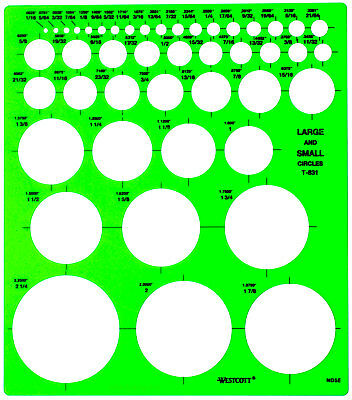 "Westcott Large & Small Circles Template 1/16"" - 2 1/4"" Transparent Plastic"