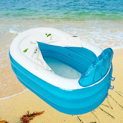 Blue PVC  Inflatable Baby Bath Tub Travel Infant Washing Tub Heat Sensor