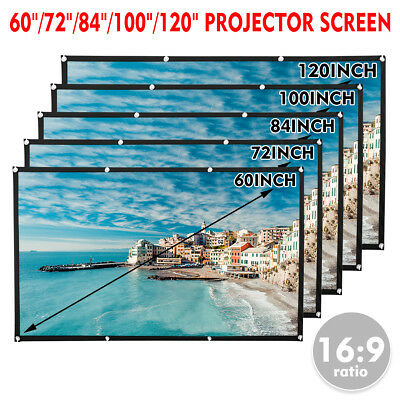 "120"" Big Projector Screen 16:9 Projection HD Home Theater Portable Movie Screen"