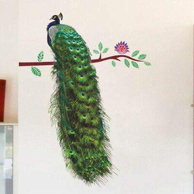 Animals Peacock  Branch Feathers Wall Stickers Vivid Wall Decals Home Decor LG