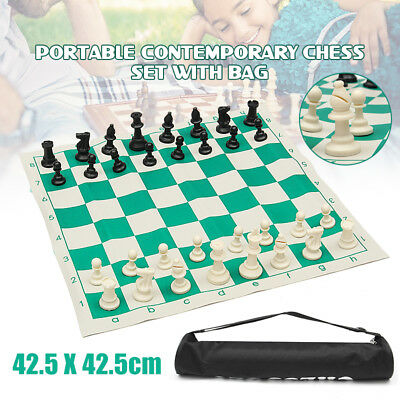 Foldable Tournament Chess Set with Bag Weighted Chess Pieces Chess Roll Bag Gift