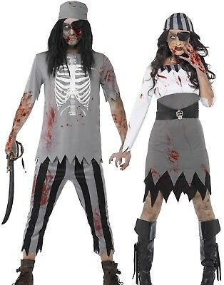 Adult Zombie Pirate Costume Mens Ladies Halloween Ghost Fancy Dress Woman New