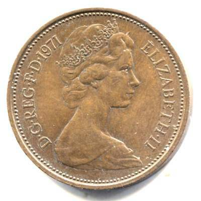 Great Britain 1971 Two New Pence Coin United Kingdom England Queen Elizabeth II